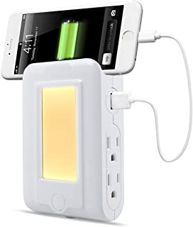 USB Wall Charger Charging Station, TryLight Power Strip with 2 USB Ports and 4 AC Outlets, LED Sensor Night Light & Phone Holder (White)
