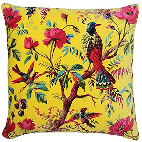 Riva Paoletti Paradise Square Cushion Cover - Yellow - Colourful Bird Print - Faux Velvet Fabric - Machine Washable - 100% Cotton - 50 x 50cm (20' x 20' inches) - Designed in the UK