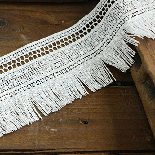 Yulakes - Tira de encaje de algodón, 2,74 m y 7 cm, con flecos, de estilo vintage ganchillo para costura, artesanía, decoración, bodas, scrapbooking, paquetes de regalo (color blanco)