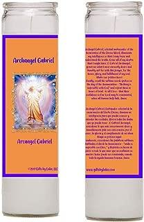 Gifts by Lulee, LLC Archangel Gabriel Arcangel Gabriel God is My Strength Dios ES mi fuerza Set of 2 Candles and Laminated Prayer Card