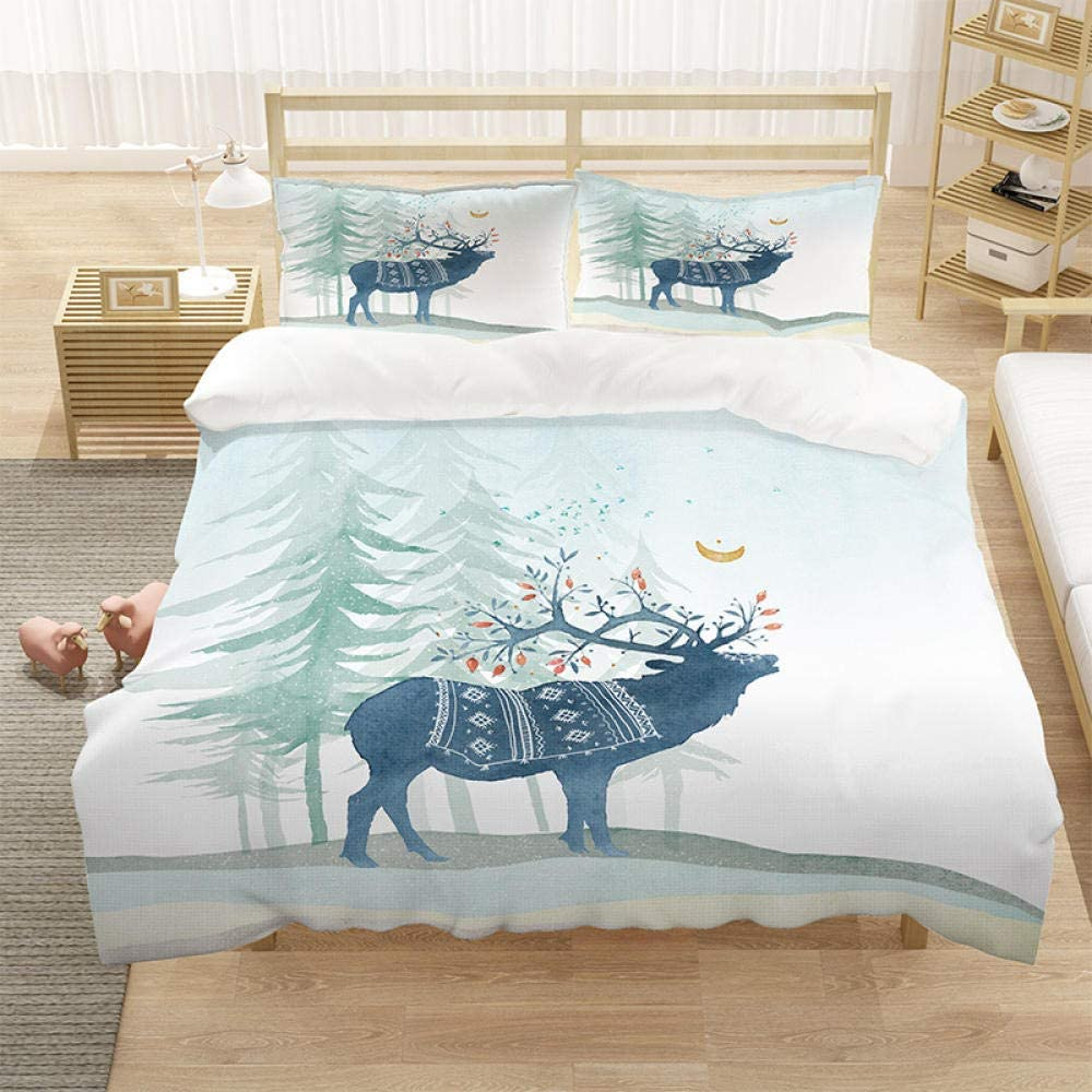 Duvet Cover Easy-to-use King Snow Deer Easy 104x90in Set Cosy 2021 autumn and winter new Bed Care Soft