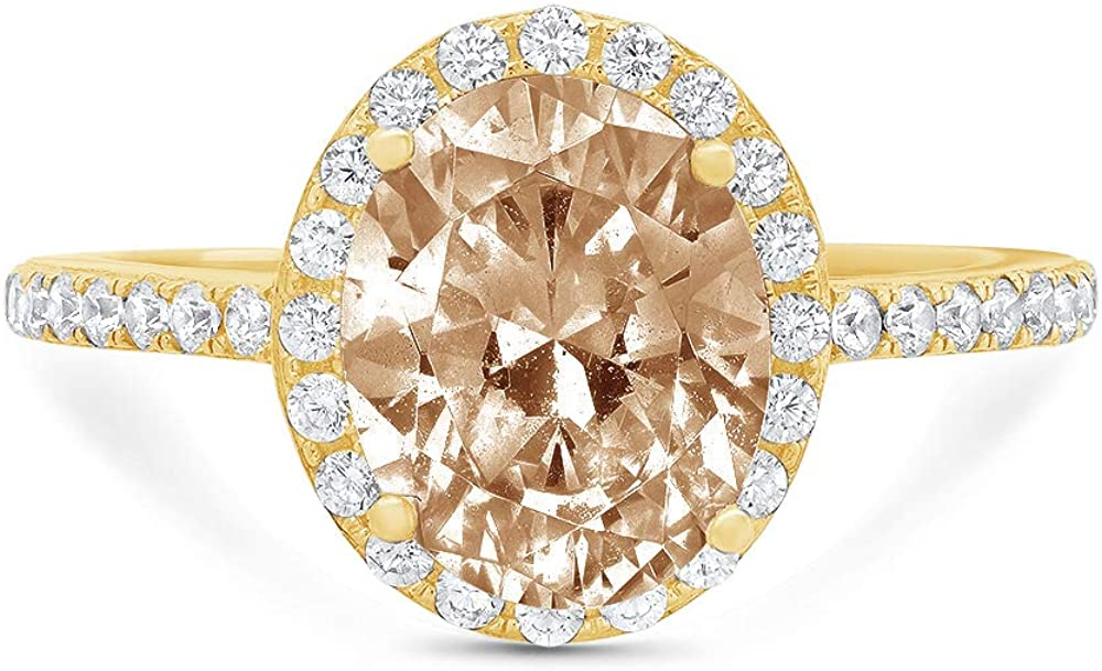 2.83ct Brilliant Oval Cut Solitaire with Accent Halo Brown Champagne Simulated Diamond CZ VVS1 Designer Modern Statement Ring Solid 14k Yellow Gold Clara Pucci