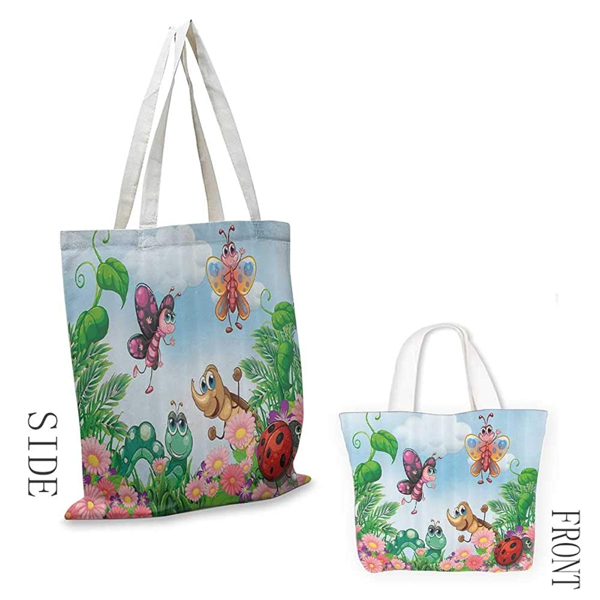 Tote bag Garden Gardening Theme Illustration of Butterfly Ladybug Worm Flowers and Grass Coin cash wallet 16.5