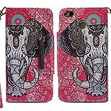 xifanzi Xiaomi Redmi Note 4X / Note 4 Funda Carcasa Libro de Cuero con Tapa y Cartera Protección PU Cover Protectora Billetera Patrón de Animales Lindos Elefante étnico Cover Case Piel