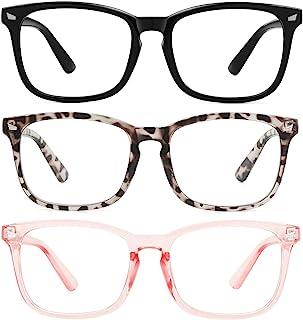 MEETSUN Blue Light Blocking Glasses, Anti Eye Strain Headache (Sleep Better),Computer Glasses UV400 Transparent Lens (Blac...