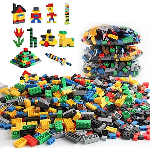 Sipobuy DIY Construction Building Creative Bricks 1000pcs Blocks Set, Compatible with all Major Brands, Multi Color Shapes, Early Education Toy Gift for 3+ Kids