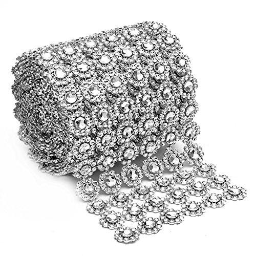 """Silver Diamond Flower Shape 4""""x 1 Yard Mesh Wrap Roll Rhinestone Crystal Ribbon"""
