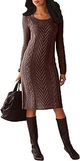 Corafritz - Vestito invernale da donna, lavorato a maglia, a maniche lunghe, stile casual, tinta unita, con scollo rotondo