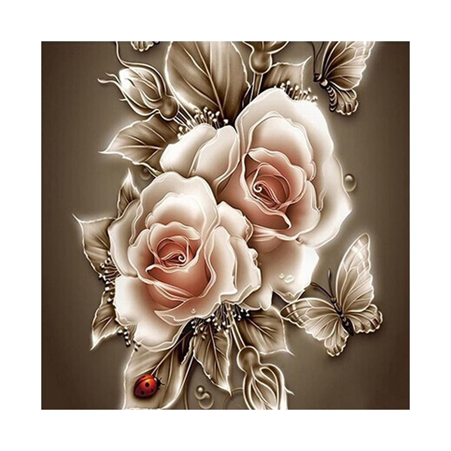 DIY Diamond Painting by Number Kit, 5D Full Drill Crystal Cross Stitch Set, Rhinestone Embroidery Art Craft, Home Wall Decorative Accessories for Living Room - 3535cm - Retro Roses