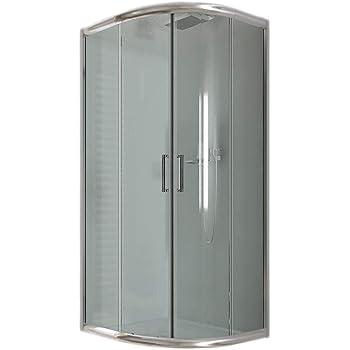 Cabina de ducha semicircular de 80 x 80 cm y 185 cm de altura, cristal transparente de 6 mm: Amazon.es: Bricolaje y herramientas