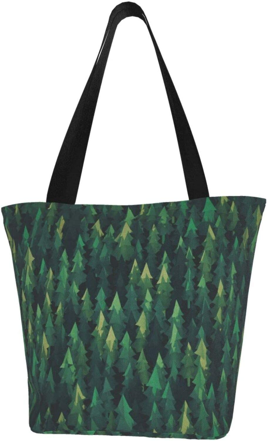 AKLID Green Forest Extra Large Water Tote Regular dealer Bag f Popular brand in the world Resistant Canvas