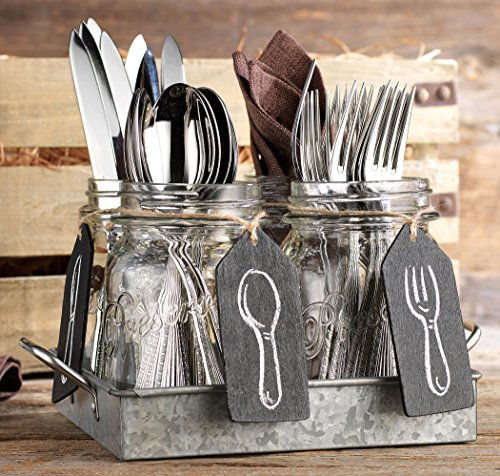 Set of 4 Clear Glass Mason Jars with Hanging Chalkboards on Galvanized Tray with Handles - Flatware Caddy Organizer Set for Home & Parties by H.E.