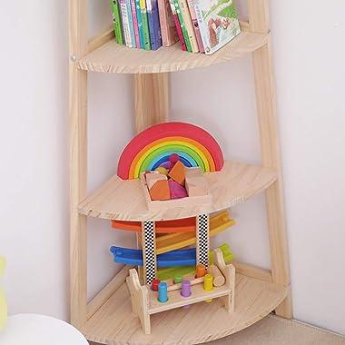 Bookcases Simple Shelf Simple Modern Multi-Storey Solid Wood Landing Corner Storage Shelf Bookshelves for Living Room (Size :
