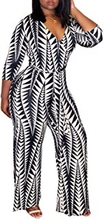 Women Deep V Neck 3/4 Sleeve Digital Geometric Print Belted Bodycon Wide Leg Jumpsuits Rompers