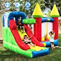 YARD Bounce House with Slide 0.4mm Vinyl Extra Thick Bouncing Floor Indoor Outdoor Inflatable Jump Castle for Kids w/ Heavy Duty Blower