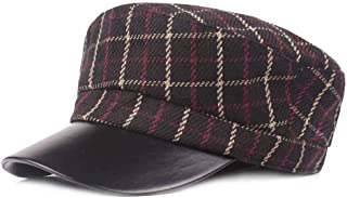 KFEK Leather Jacket Flat Cap Navy Cap Autumn and Winter Lattice Octagonal Cap Retro Flat Cap A3