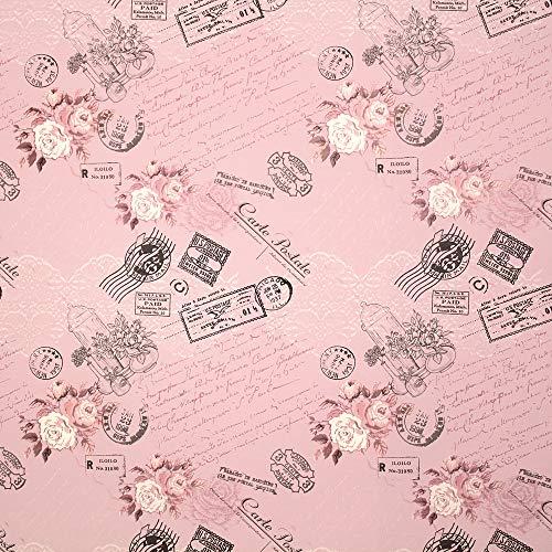 STAR Geschenkpapier 70cm x 2m Rolle Rosen Postkarten