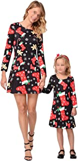 Mommy and Me Christmas Dress Outfit Long Sleeve Midi Dress Matching Set Santa Claus Print Mom and Girl's Family Clothing