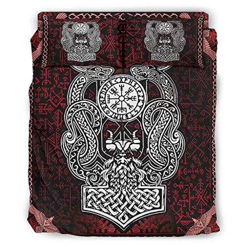 Bannihorse Juego de 4 fundas de edredón Viking Odin Dragon con fundas de almohada y funda de edredón, suave y cómoda, color blanco, 175 x 218 cm