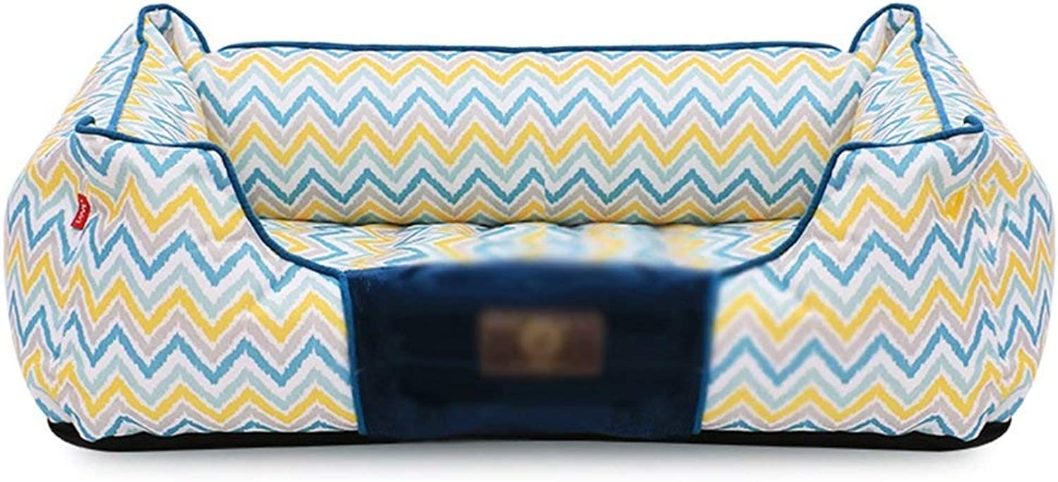 HUABABAING Pet bed Yellowbluee striped rectangular Four Seasons washable velvet Nesting dog hole bed Pet cat and dog bed, (Size   82cm)