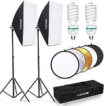 کیت روشنایی Softbox YICOE با بازتابنده 60 سانتی متر تجهیزات عکاسی حرفه ای استودیو روشنایی مداوم با 2 لامپ 95W 5500K برای فیلمبرداری پرتره عکاسی محصول ضبط فیلم