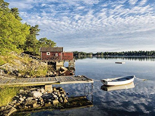 Artland Qualitätsbilder I Wandtattoo Wandsticker Wandaufkleber 60 x 45 cm Landschaften Küste Foto Blau B6CL Schärengarten Küste Schweden Stockholm