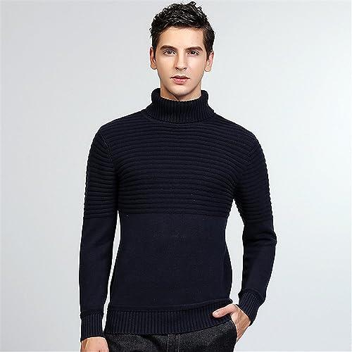 Jdfosvm Chandails pour Hommes Hommes Jeunes Britanniques Mode Style Polo Cou Pull Pull,Bleu Marine,XXL