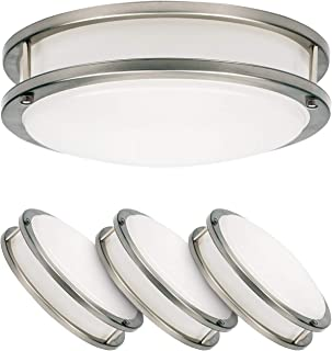 LUXTER (4 Pack) 12  Flush Mount Ceiling Light, Modern Flushmount Light, Dimmable, Round 20Watt (120W Repl) 5000K Daylight, 1400 Lm, Brushed Nickel Finish with Acrylic Shade, ETL and ENERGY STAR listed