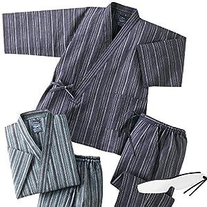 2着組 上下セット 夏用 涼しい しじら織り作務衣(綿100%) メンズ 男性 C903350 (Sサイズ)