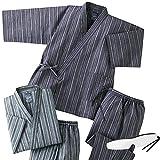 2着組 上下セット 夏用 涼しい しじら織り作務衣(綿100%) メンズ 男性 C903350 (Lサイズ)