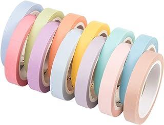 Washi Tape Set,Artisanat Tape 12 Rolls Rubans de Masquage Décoratifs Rubans Adhésifs en Papier Arc-en-Ciel for Scrapbookin...