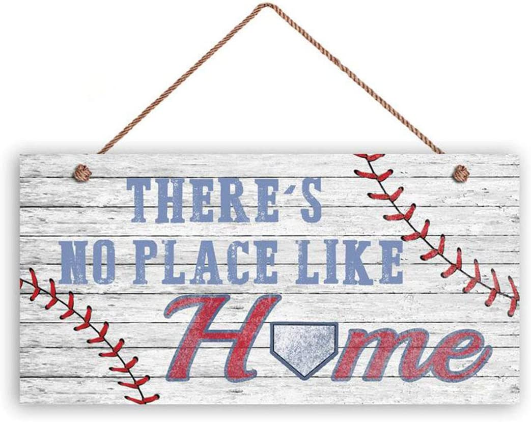 There's No Place Like Home Sign, Baseball Sign, Home Plate, Weathered Style, Rustic Wooden Plank Sign 5x10(4062)