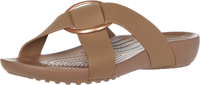Crocs Women's Excellence Serena San Francisco Mall Slide Cross-Band Sandals