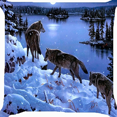 Cushion cover throw pillow case 18 inch wolf gang snow mountain lake pine trees forest moon light both sides image zipper