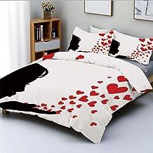 Conjunto de funda nórdica, Pretty Girl Black Silhouette Blowing Red Hearts Romance Love Valentines Day ThemeDecorative Juego de cama de 3 piezas con 2 fundas de almohada, negro blanco rojo, el mejor r