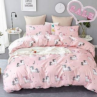 79c9fad5b Jumeey Girls Bedding Sets Queen Unicorn Duvet Cover Set Cotton Full Teen  Women Pink Magic Princess