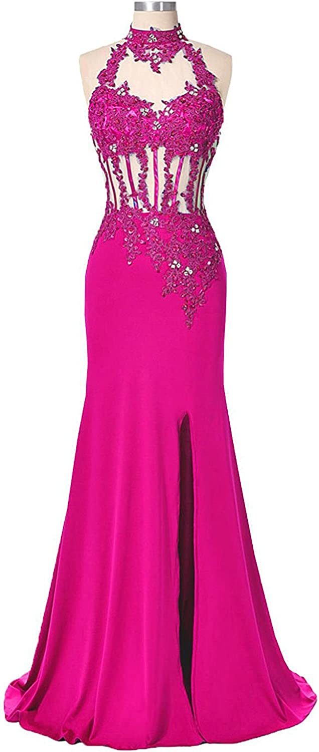 Beilite Halter Lace Top Prom Dress Formal Evening Gown with Slit