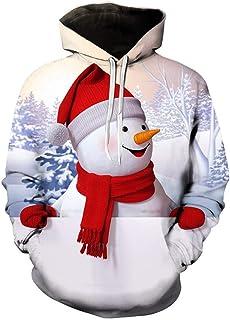 NPRADLA Men's Autumn Winter Oversized Christmas Elk Printing Long Sleeve Sweatershirt Tops