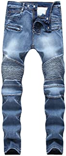 LONGBIDA Mens Biker Moto Skinny Stretchy Distressed Jeans Casual Slim Fit Pants
