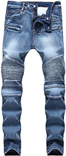 Mens Biker Moto Skinny Stretchy Distressed Jeans Casual Slim Fit Pants