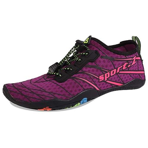 d5340694e364 HEETA Water Sports Shoes for Women Men Quick Dry Aqua Socks Swim Barefoot  Beach Swim Shoes