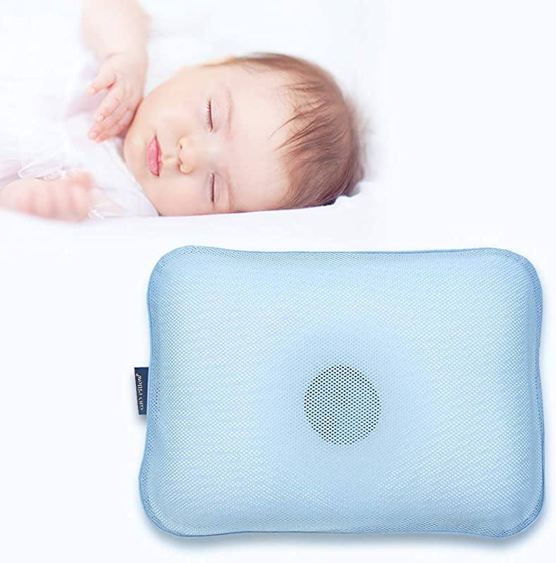 Gio Pillow 3D Air Mesh Toddler Pillow Premium Head Shaping Pillow Flat Head Syndrome Prevention Made In Korea Ice Blue Toddlers 6 24 Months