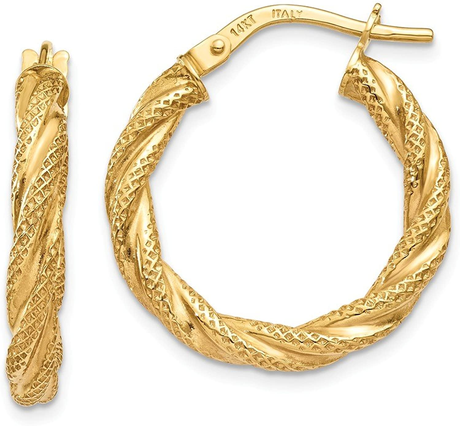 Beautiful Yellow gold 14K Yellowgold 14K Twisted Textured Hoop Earrings