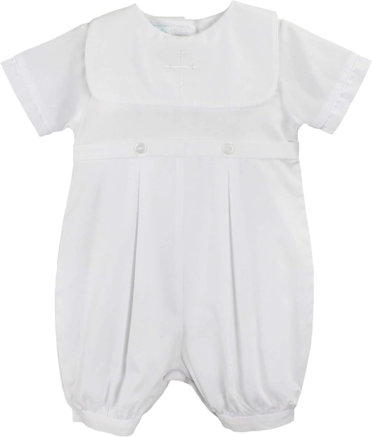 Petit Ami Baby Boys Romper White Smocked NWT Infant Size 3m-24 months