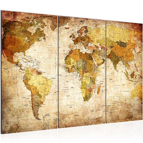 Runa Art Mapa Del Mundo Cuadro Murales Sala XXL Oro Vintage Antiguo...