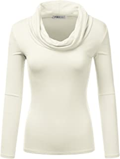 Doublju Lightweight Soft Knit Cowl Neck Top For Women With Plus Size (Made In USA)