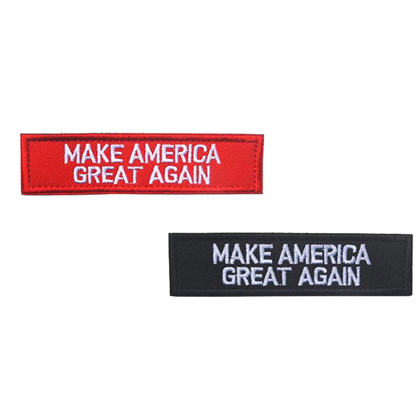 2PCS Make America Great Again Deplorable Donald Trump Emblem Embroidered Badge Fastener Hook & Loop Patch Sew-on Patches DIY Appliques.