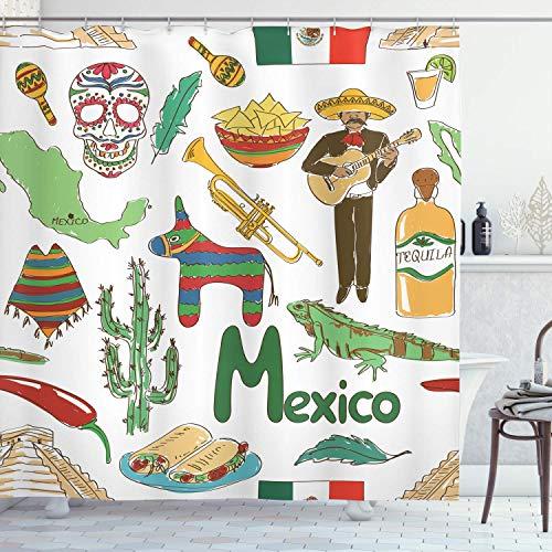 Mexicaanse douchegordijn met grappige tekst, Mexico, chili, piramide, naos, cactus, muziek, poncho, patroon, stof, badkamerdecoratie, met haak, olijfmosterd, 48 x 72 inch