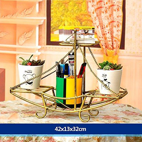 XIAOLIN- fer racks de fleurs atterrissage formule Des couches multiples Rack pot de fleur style européen mode Modèles racks de fleurs salle de séjour balcon Intérieur et extérieur étagère Fleur --Cadre de finition de fleurs ( Couleur : 3 , taille : 40*13*32cm )