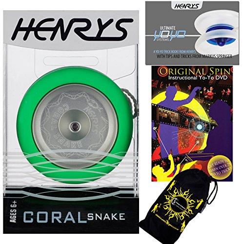 Henrys CORAL SNAKE YoYo (Vert) Looping Trick (2A) Professionnelle Métal Roulement à Bille Yo Yo Avec Système AXYS + livre d'instruction de trucs +75 Yo-Yo Tricks DVD (en anglais) + sac de voyage! Niveau: Intermédiaire / Avancé
